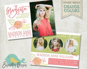 Graduation Announcement PHOTOSHOP TEMPLATE -  Senior Graduation 50