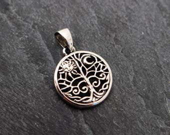 Sterling Silver Tree of Life Pendant with Sun and Moon
