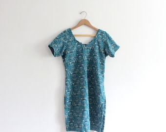 Teal Floral Indian Tunic Dress
