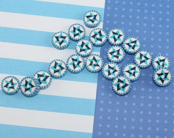 20- Jewish Star of David beads for diy jewelry, unique elegant handmade round flat blue turquoise white polymer clay beads