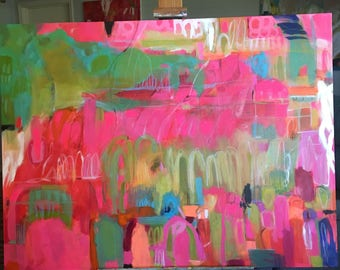 """Pink Abstract Painting Mixed Media 48x36"""" Canvas by Karen Fields"""
