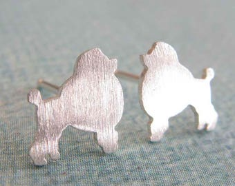 Miniature Poodle post earrings. Small dog silhouette jewelry. Sterling silver or 14k gold filled or solid gold studs. Gift for animal lover