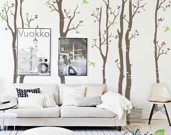 Large Tree - large Tree wall decals - Set of 7 Large Birch Tree vinyl wall decals with birds stickers - Tree wall decals - wall art - NT015