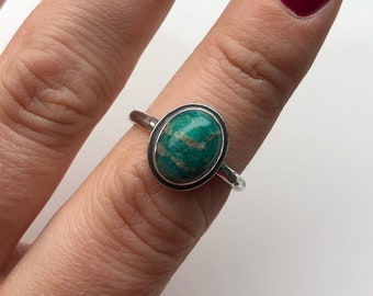 Jade Sterling Silver Ring, Green Jade, UK Size N, Statement Ring, Unique Ring, Gift For Her