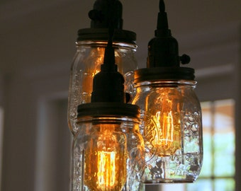 3 Light Mason Jar Chandelier - Clear Pint