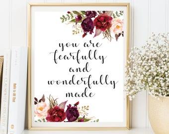 Nursery bible verse, Psalm 139, Nursery wall art, Fearfully and wonderfully made, Nursery art, Bible verse, Scripture art