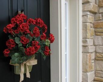 GERANIUM WREATH, Geranium Basket, Red Geranium Wreath, Annual Geraniums, Wall Pockets, Galvanized Buckets, Bucket of Red Geraniums