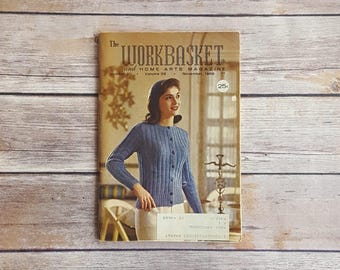 Blue Sweater Vintage Womens Book Fancy Top Lady Workbasket Vol 32 No 2 November Edition Gift Idea Booklet Home Arts Magazine Retro Sweater