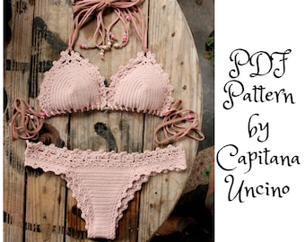 PDF, Crochet PATTERN for Lorelei Crochet Bikini Top and Brazilian Bottom, Cheeky, Sizes XS-L