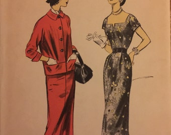 "VTG 7700 Advance (1956) Misses' dress & jacket.  Size 14, Bust 32"".  Complete, unused, FF. Excellent condition."