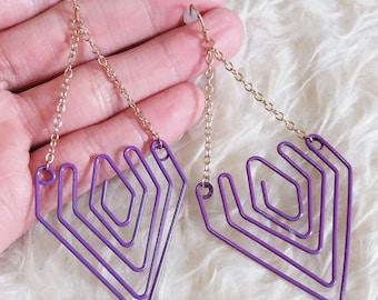 Purple Wire Dangle Earrings