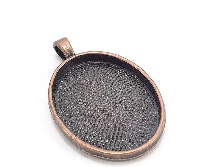 CLOSEOUT - Pendant Setting, 32x25mm Oval, Antique Copper - 25 Pieces (PSAAC-OV30)