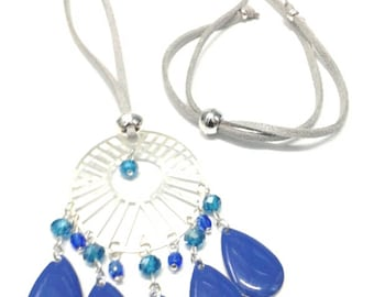 Necklace blue necklace, suede, charms and beads
