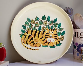 Vintage Metal Tray with Pop Art Tiger by Rodney Peppé for Crown Merton, England, 1970s
