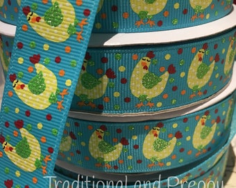 "7/8"" Hen Chicken glitter polka dot grosgrain ribbon"