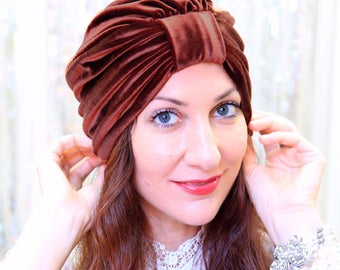 Velvet Turban in Chocolate Brown - Women's Hair Turbans - Full Turban Hat - Fashion Headwrap - Lots of Colors