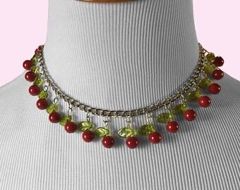 Retro 50s Inspired cherry Necklace