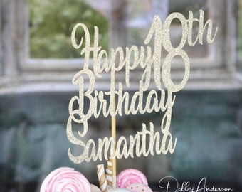 Happy Birthday Cake Topper, ANY AGE NAME, 18th Birthday Party, Birthday Party Decorations, Birthday Party Cake, Birthday Cake Topper