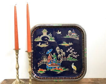 Vintage Daher Decorative Chinoisserie Tray, Daher England