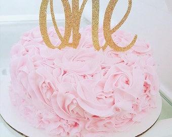 1st birthday cake topper, one cake topper, smash cake topper, 1 Cake Topper, Glitter Gold Cake Topper, cursive one cake topper, 1st birthday
