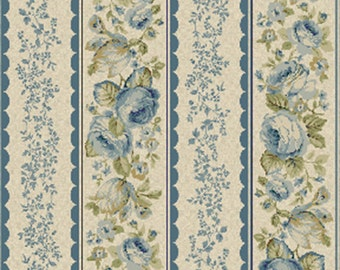 One Yard Olivia - Rose Stripe in Blue - Cotton Quilt Fabric - by Michele D' Amore for Benartex Fabrics - 4636-55 (W2566)