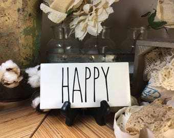 Rae Dunn Inspired HAPPY Sign Farmhouse Style Home Decor Rae Dunn Sign Farmhouse Sign Fixer Upper Decor Farm Decor Shabby Chic