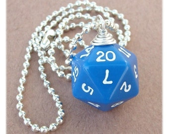 D20 Dice Pendant - Dungeons and Dragons - Blue - Geek Gamer DnD Role Playing RPG