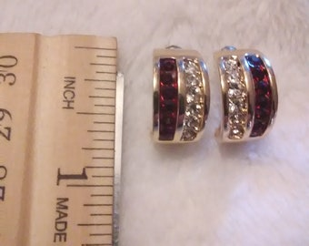 Roman Jewelers Vintage Earrings with red and clear rhinestones