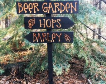 Beer Garden Directional Lawn Ornament Sign   Home Brewing Beervana Hops  Barley Fathers Day Fun Lawn