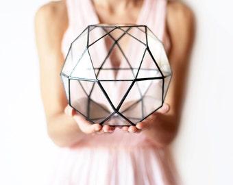Geometric Terrarium, Wedding Decor, Wedding Card Box, Sweetheart Table Centerpiece, Gardening Gift, Succulent Planter, Stained Glass Vase