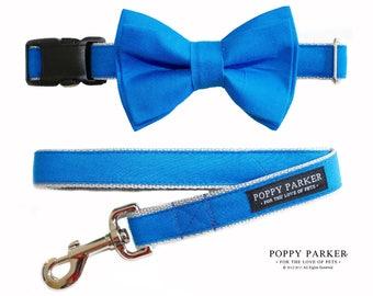 Bright Blue Wedding Dog Bow Tie - Optional Matching Dog Collar Dog Leash