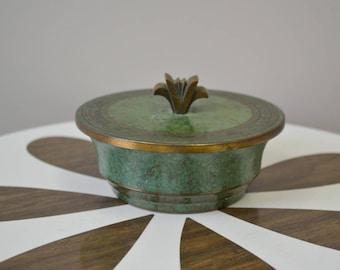 1930s Carl Sorenson Bronze Verdigris Bowl and Lid