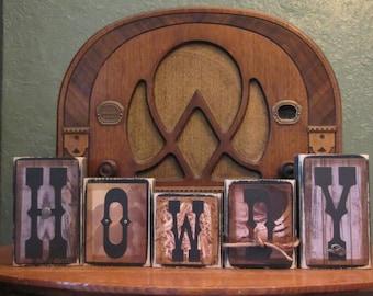 Howdy Cowboy Sign, Western Decor, Cowboy Decor, Cowboy Nursery, Western Nursery, Word Blocks