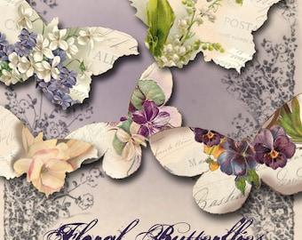 Floral Butterflies - Springtime Images - Summertime Images - Fantasy Butterflies - Digital Collage Sheet - Instant Download