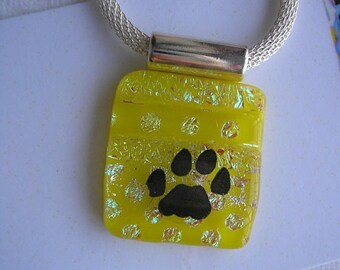 "SPRING SALE Sunflower Yellow Pendant, Pawprint Pendant, Fused Dichroic Glass, Happy Polka Dots, 20"" Silver Chain, Cat Necklace, Dog Jewelry,"