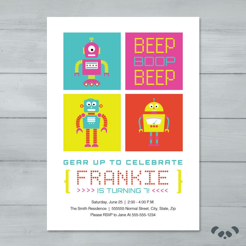 Robot birthday party invitation beep boop beep robot zoom filmwisefo
