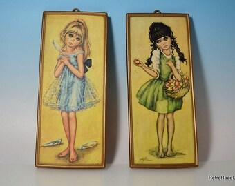 2 Original 1960s Big Eyed Girl Prints Original Plastic Frames: Artist F. Idylle