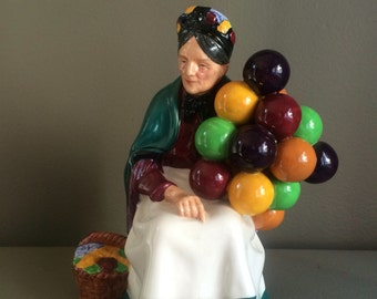 Vintage hand painted Royal Doulton, 'The Old Balloon Seller'  H.N. 1315, made in England, colorful balloons, red, yellow, green