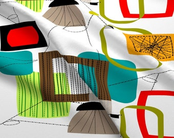 Retro Mod Fabric - Mid-Century Modern Abstract By Hot4tees Bg@Yahoo Com - Eames Era Cotton Fabric By The Yard With Spoonflower