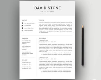 Resume Template | CV Template | Professional Resume Template + Cover Letter for Word | Modern Resume | Instant Download | Resume ''David''