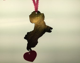 Bichon Silhouette Ornament in Stained Glass