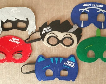 Ready to ship! PJ Masks Personalized Masks! Set of 6 Masks! Birthday Party Favor! Pick Any Mixture of Characters! Party Favor