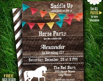 Horse Birthday party invitation, Printable Pony birthday party, Instant download, Printable Self Editable PDF File A251