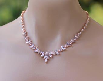 Rose Gold Bridal Necklace, Bridal Jewelry, Wedding Necklace, DENISE G