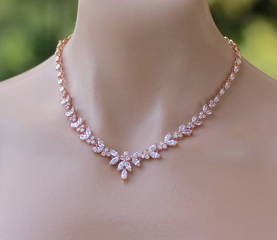 Rose Gold Bridal Necklace Bridal Jewelry Wedding Necklace