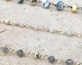 Moonstone Rosary Chain Necklace