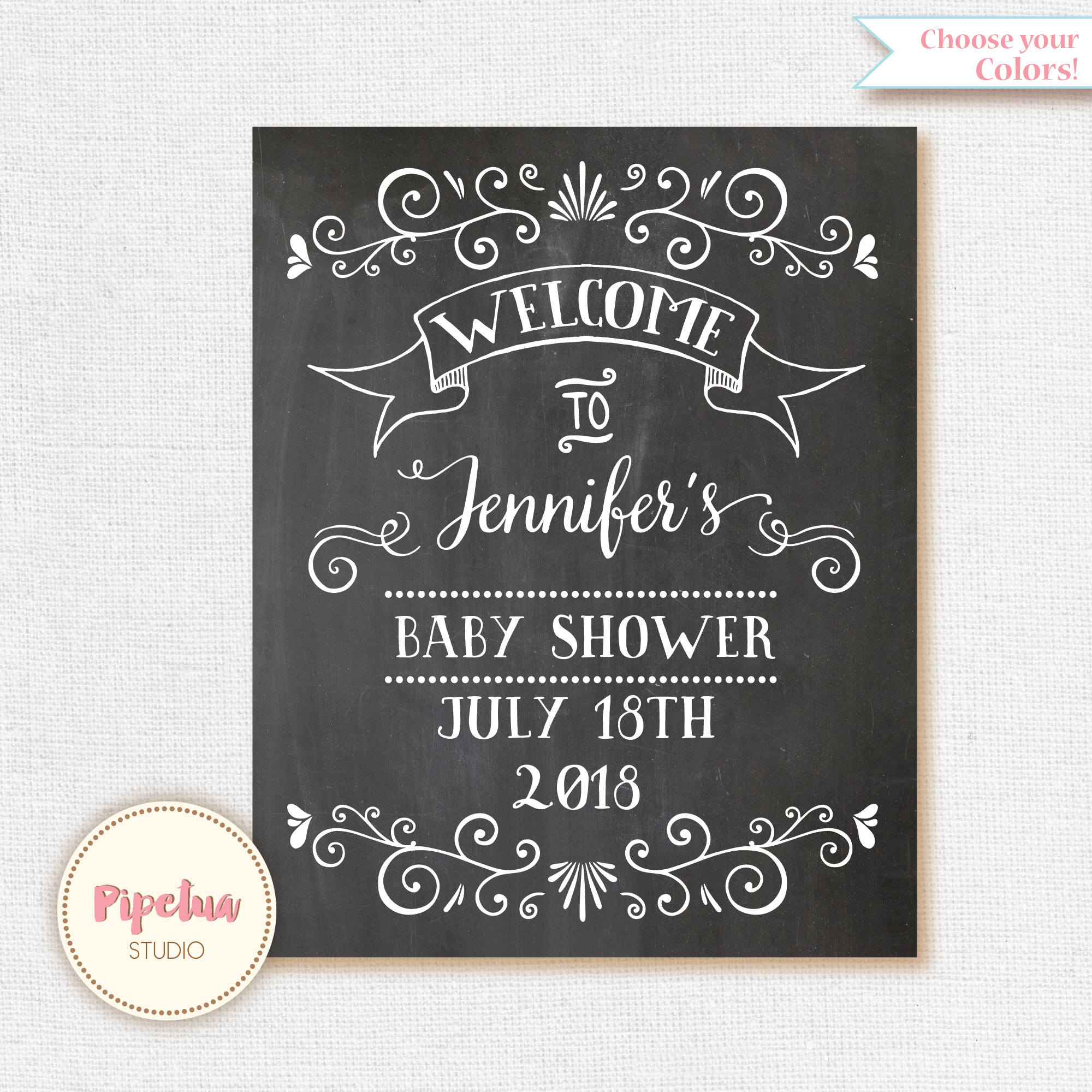 Wel e Baby Shower Sign Chalkboard Wel e sign Printable