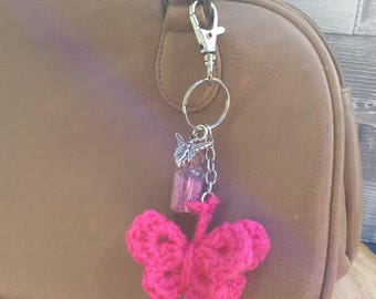 Keyring, purse charm, bag charm, fairy, fairy dust, butterfly, crocheted, fantasy, bag accessory, OOAK