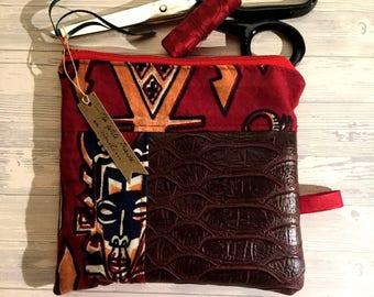 Small faux leather and wax, Burgundy, African mask Kit