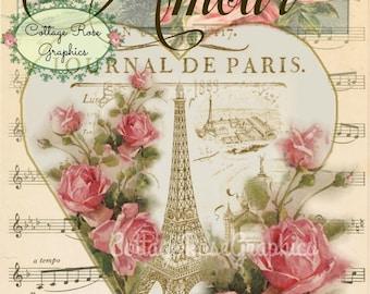 Paris Amour vintage Valentine Large digital download ECS buy 3 get one free Pink ROSES romantic single image